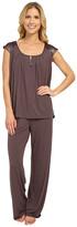 Midnight by Carole Hochman Modal Short Sleeve Pajama with Satin