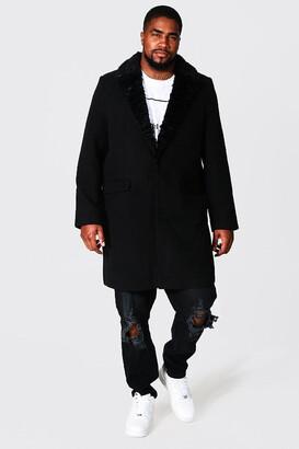 boohoo Mens Black Plus Size Faux Fur Collar Overcoat, Black
