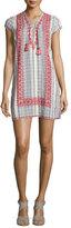 Calypso St. Barth Pinarma Lace-Up Striped Sheath Dress, Coconut