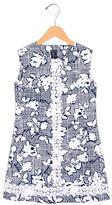 Oscar de la Renta Girls' Printed Croceht-Trimmed Dress w/ Tags