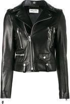Saint Laurent glitter logo biker jacket - women - Cotton/Lamb Skin/Polyester/Cupro - 36