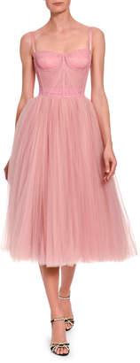 Dolce & Gabbana Tulle Bustier Tea-Length Dress