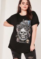 Missguided Plus Size Metal Tour Graphic T-Shirt Black