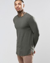 Asos Longline Muscle Long Sleeve T-Shirt With Zips and Curve Hem In Khaki