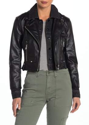Bagatelle Faux Leather Denim Cropped Biker Jacket
