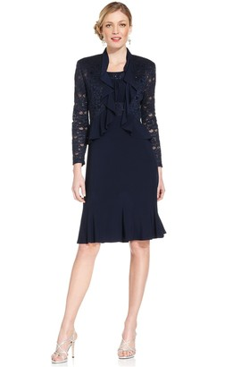 R & M Richards R&M Richards Women's Two PCE Missy Ruffle Jacket Over A Solid Dress