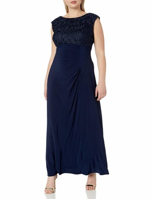 Alex Evenings Women's Plus-Size Long Cowl Back Dress