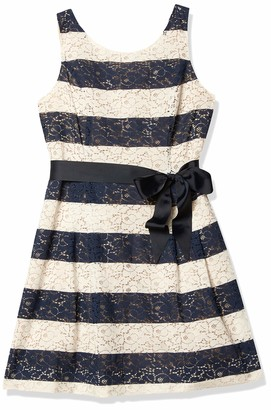 Robbie Bee Women's Stripped Lace Party Dress with Ribbon Belt