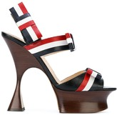 Thom Browne Open Toe Shaped Platform Heel (15 Cm) With Bow Strap In Pebble Lucido Leather & Calf Leather