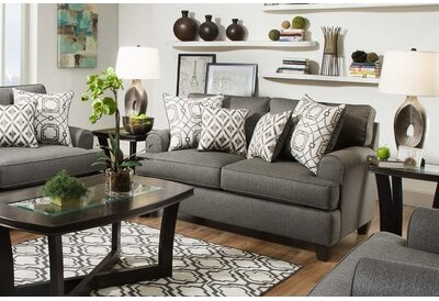 """Thumbnail for your product : Charlton Home Lansford 62"""" Round Arm Loveseat Upholstery: Wicked Charcoal"""