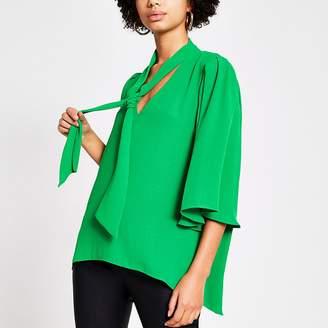 River Island Green tie V neck choker blouse