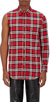 Vetements MEN'S UNEVEN-SLEEVE PLAID FLANNEL SHIRT