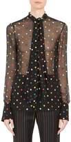 Givenchy Women's Multicolor Dot Fil Coupé Tie-Neck Blouse