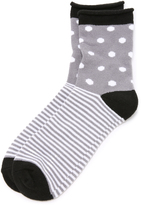 Plush Dot Stripe Rolled Fleece Socks