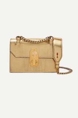 Christian Louboutin Elisa Mini Metallic Textured-leather Shoulder Bag - Gold
