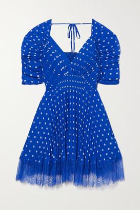 Self-Portrait Lace-trimmed Pleated Polka-dot Chiffon Mini Dress - Blue