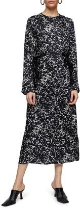 Topshop Tie Tent Long Sleeve Midi Dress