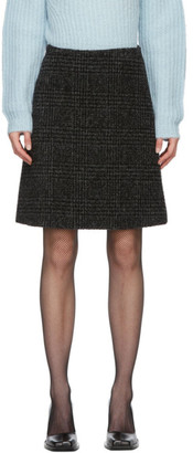 Proenza Schouler Black Wool Plaid Skirt