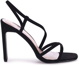 Linzi STARLIGHT - Black Suede Sling Back Strappy Slim Heel