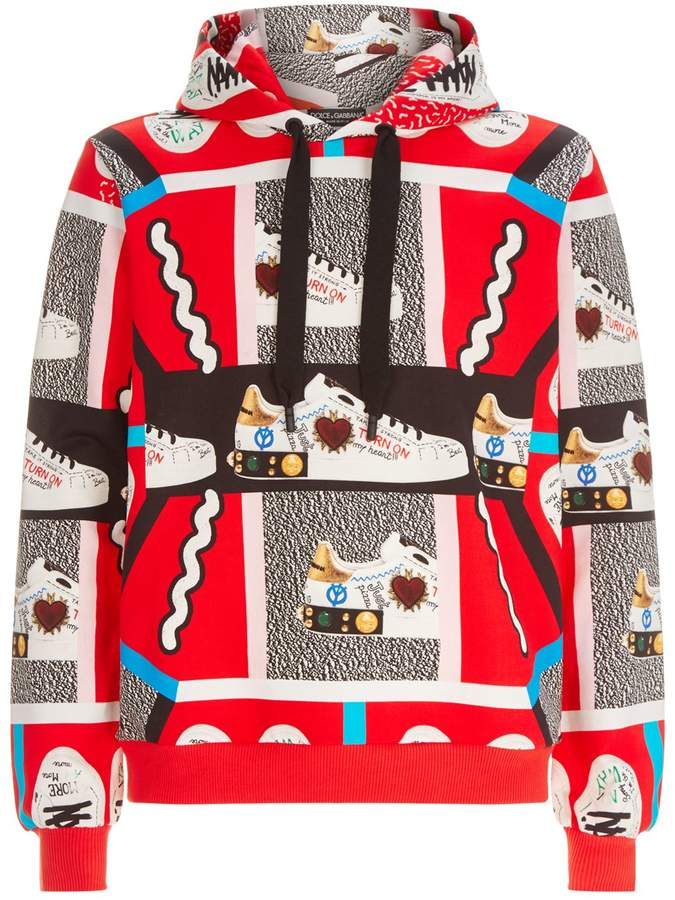 Dolce & Gabbana Graphic Sneaker Jersey Hoodie
