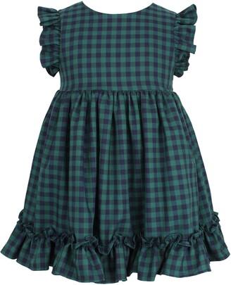 Popatu Check Flutter Sleeve Ruffle Dress