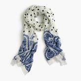 J.Crew Polka-dot scarf with paisley trim