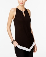 INC International Concepts Petite Colorblocked Halter Top, Created for Macy's