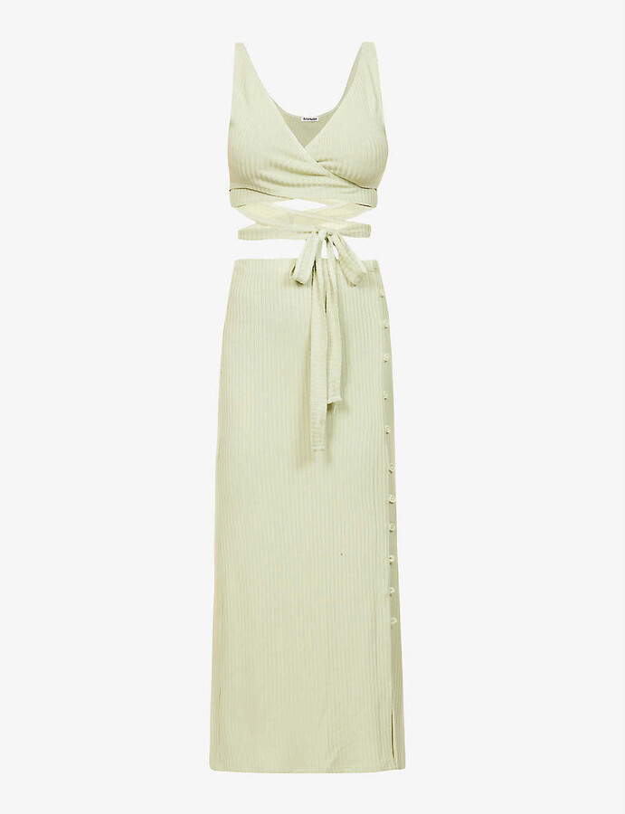 Thumbnail for your product : Reformation Jonny ribbed stretch-woven top and midi skirt set