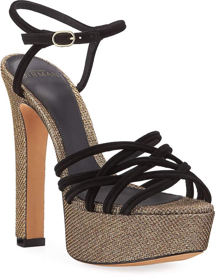 Alexandre Birman Berthe Strappy Glittered Platform Sandals