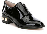 Louise et Cie Franley Patent Leather Pearl Detail Oxford Loafers