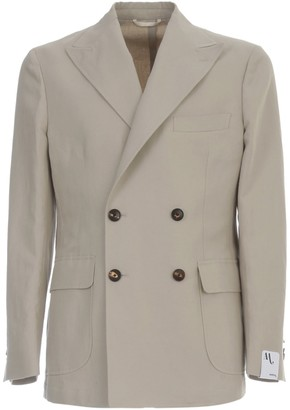 doppiaa Linen Double Breasted Jacket W/patch Pockets