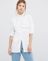 WÅVEN Laure Long Sleeve Luxe Shirt in White