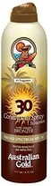 Australian Gold SPF 30 Continous Sunscreen Spray with Bronzer, 6 Ounce