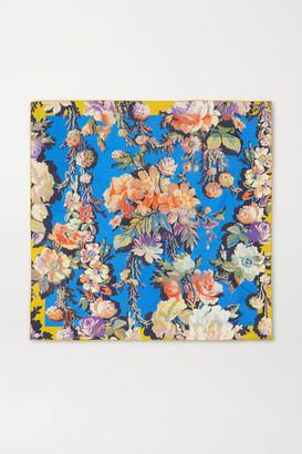 Dries Van Noten Floral-print Silk-twill Scarf - Blue