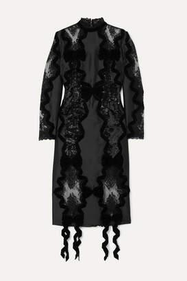 Erdem Diletta Velvet-trimmed Sequined Satin And Lace Midi Dress - Black