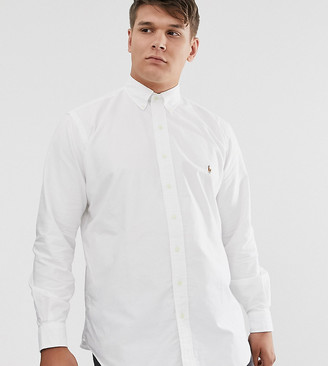 Polo Ralph Lauren Ralph Lauren Big & Tall player logo classic fit buttondown oxford shirt in bsr white