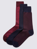 M&s Collection 3 Pairs Of Luxury Cotton Socks