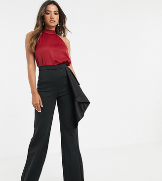True Violet exclusive high waisted wide leg trousers in black