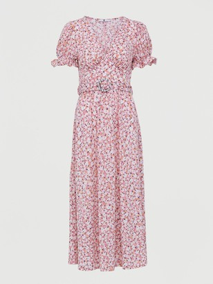 Very Belted Midi Dress - Pink Print