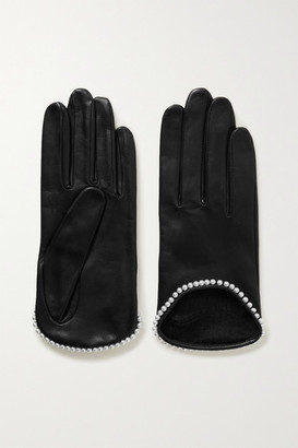 Agnelle Sofia Faux Pearl-embellished Leather Gloves - Black