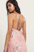 Dynamite Floral Satin Midi Slip Dress