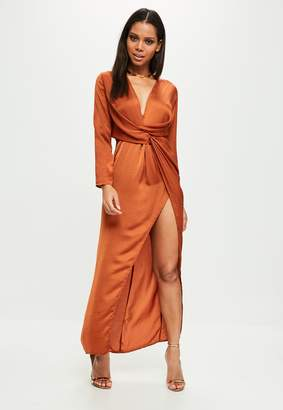 Missguided Orange Wrap Front Maxi Dress