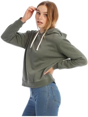 Miss Shop Fleece Back Hooded Sweat Top