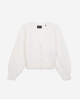 The Kooples Cashmere&wool ecru cardigan w/fabric buttons