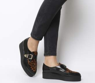Office Fab Creeper Shoes Black Groucho And Leopard Leather