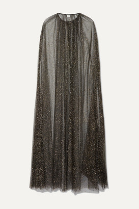 Monique Lhuillier Brie Glittered Tulle Cape - Black