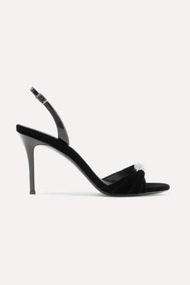 Giuseppe Zanotti Alien Crystal-embellished Velvet And Patent-leather Slingback Sandals - Black
