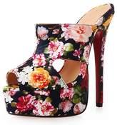 Katypeny Women's Fashion Peep-Toe Platform Pumps High Stiletto Heel Slippers PU 12 M US