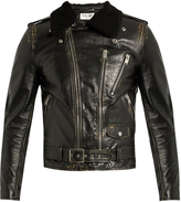 Saint Laurent Shearling-collar leather biker jacket