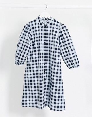 Pieces smock shirt dress with puff sleeves in blue gingham check